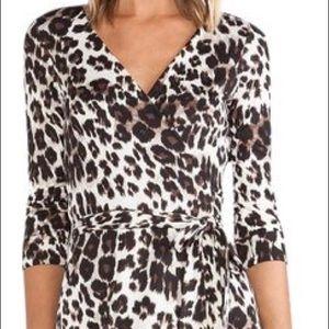 Diane von Furstenberg snow cheetah wrap dress NWOT